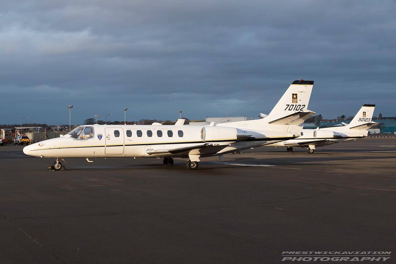 97-0102. Cessna UC-35A Citation Ultra. US Army. Prestwick. 050117.