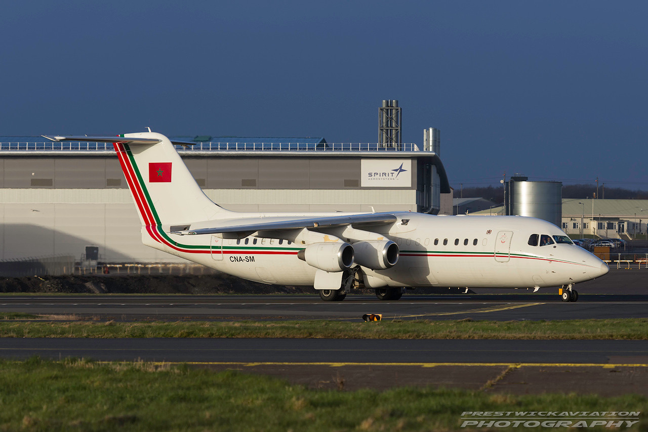 CNA-SM. British Aerospace  Avro RJ100. Morocco Government. Prestwick. 080317.