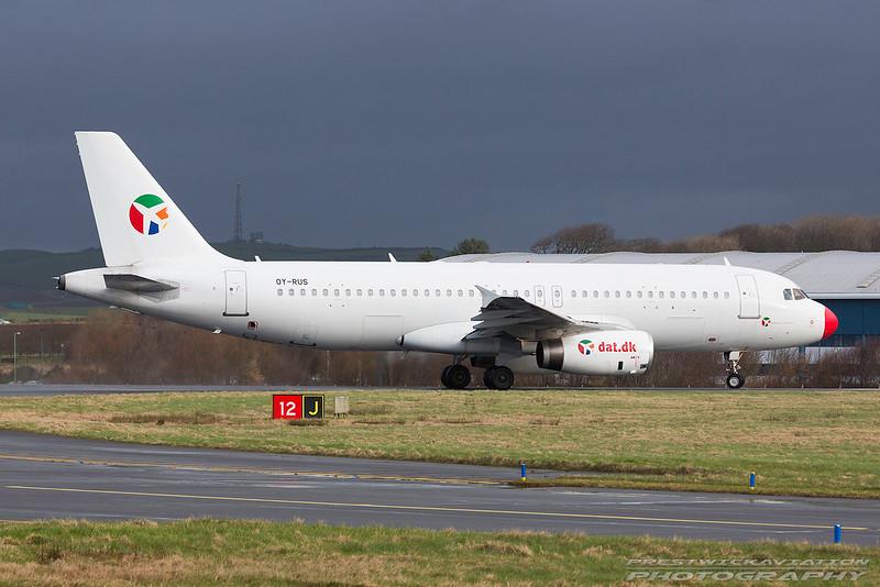 OY-RUS. Airbus A320-231. Danish Air Transport. Prestwick. 260217.