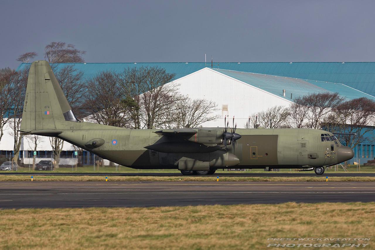 ZH874. Lockheed Martin C-130J Hercules C4. RAF. Prestwick. 220217.
