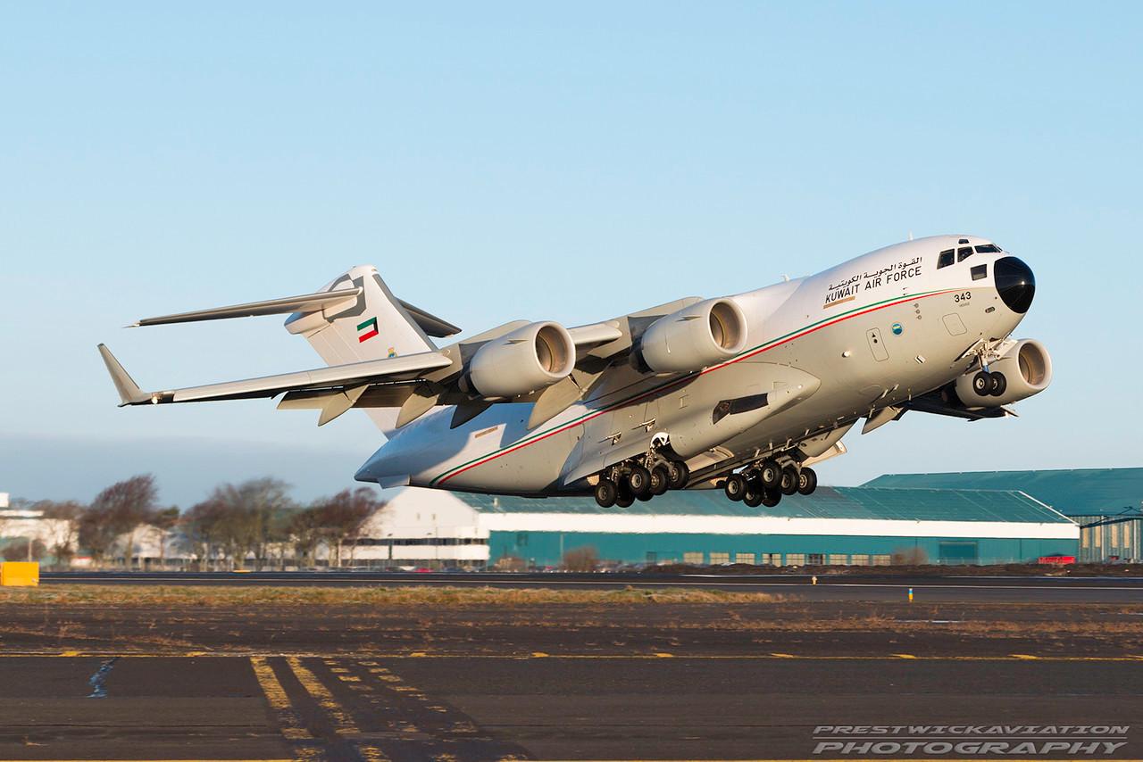 KAF 343. Boeing C-17A Globemaster III. Kuwait Air Force. Prestwick. 050117.