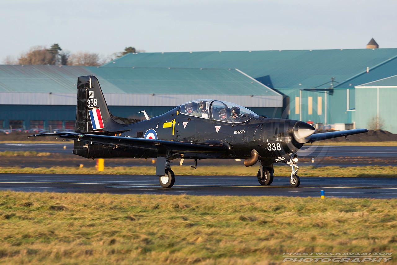 ZF338. Short S-312 Tucano T1. RAF. Prestwick. 040117.