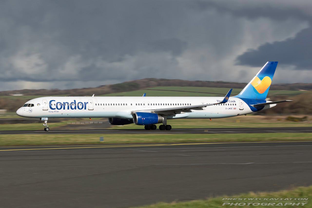G-JMOE. Boeing 757-330(WL). Condor. Prestwick. 010317.