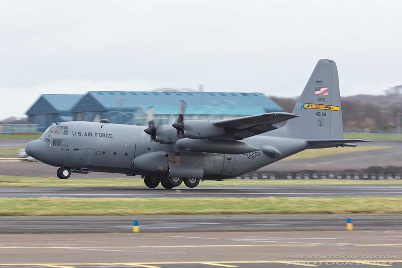 74-2134. Lockheed C-130H Hercules USAF. Prestwick. 240217.