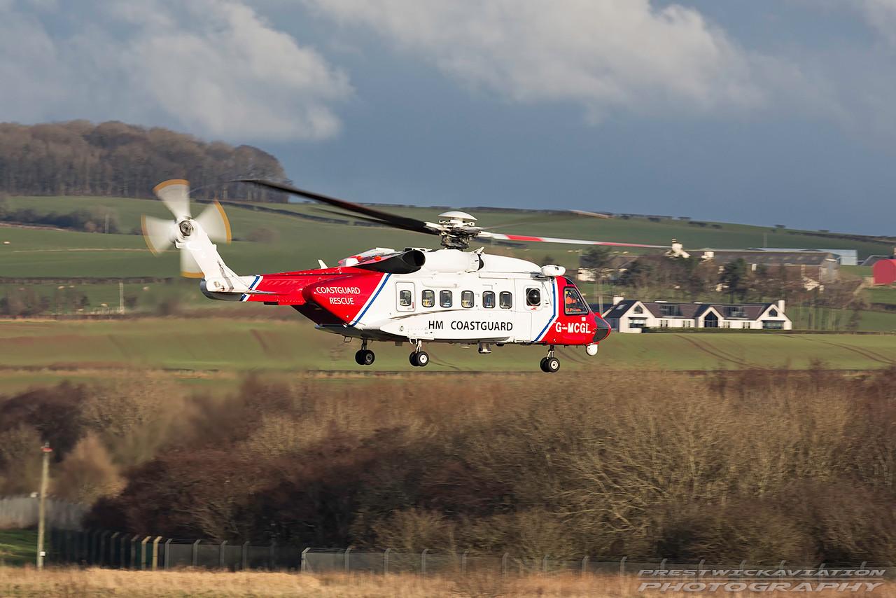 G-MCGL. Sikorsky S-92A. HM Coastguard. Prestwick. 010217.