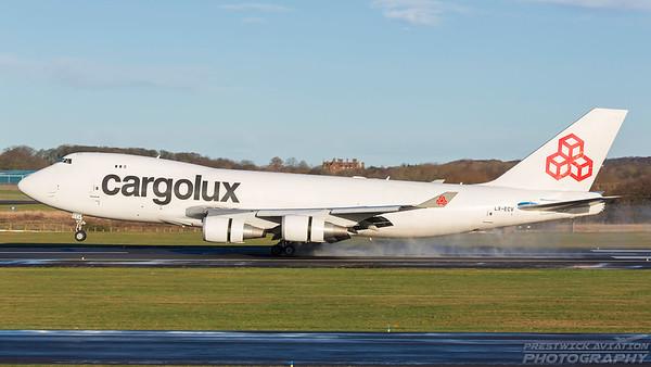 LX-ECV. Boeing 747-4R7F/SCD. Cargolux. Prestwick. 271217.