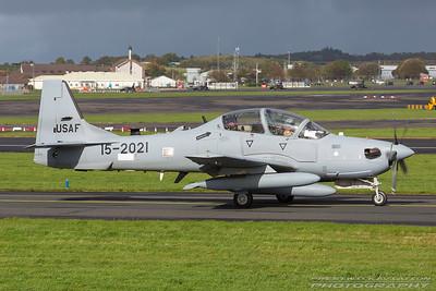 15-2021. Embraer A29 Super Tucano. USAF. Prestwick. 051017.