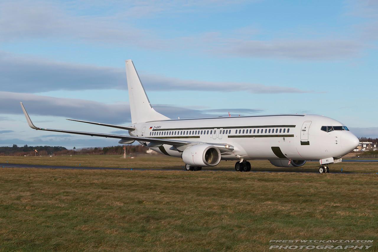 D-AHFV. Boeing 737-8K5. Untitled. Prestwick. 140117.