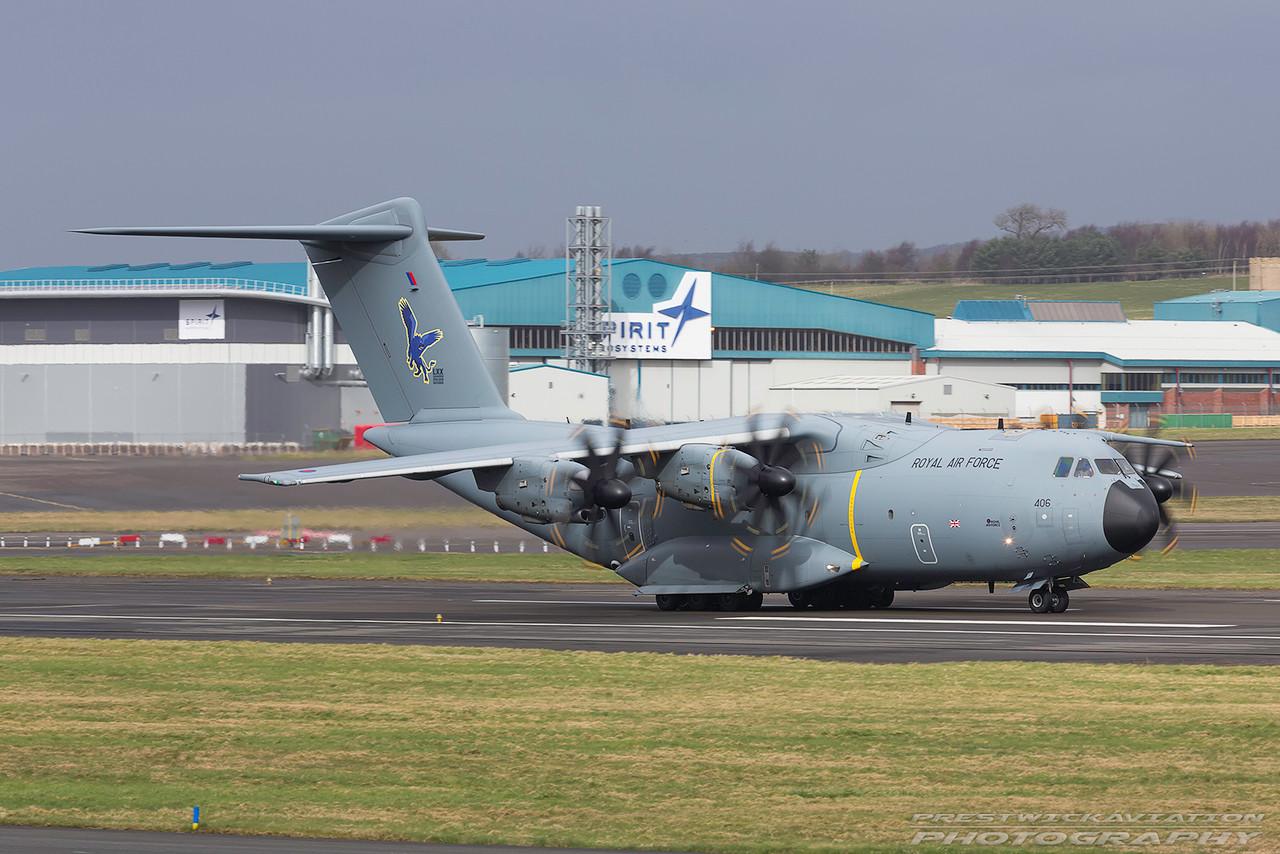 ZM406. Airbus A400M Atlas C1. RAF. Prestwick. 080317.
