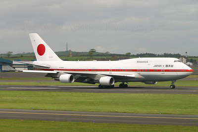 20-1101. Boeing 747-47C. Japan Air Force. Prestwick. 260505.