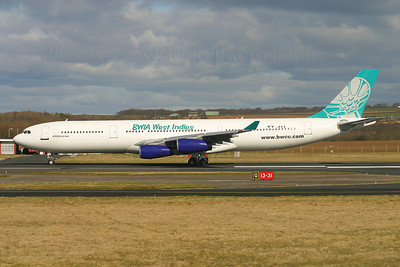 9Y-JIL. Airbus A340-311. BWIA. Prestwick. 120305.  Short lived transatlantic service to Port of Spain.