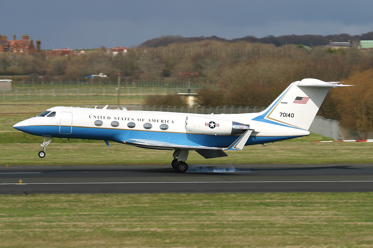 87-0140. Gulfstream Aerospace C-20E Gulfstream III. USAF. Prestwick. 180406.