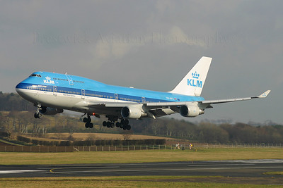 PH-BFS. Boeing 747-406M. KLM. Prestwick. 220205.  One of 2 crew training 747`s that day.