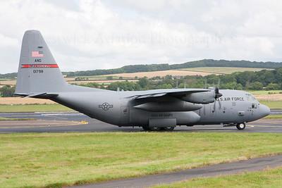 80-1798. Lockheed C-130H Hercules. USAF. Prestwick. 010808.