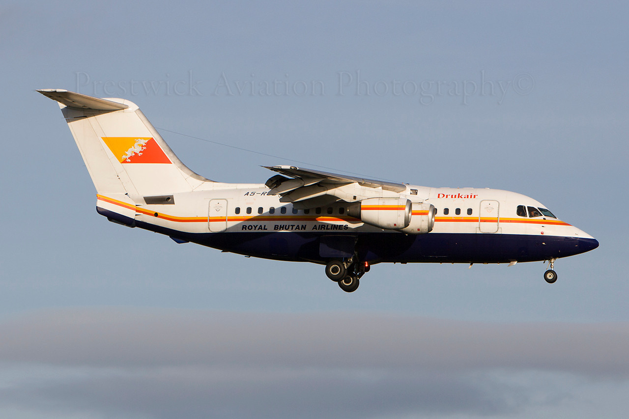 A5-RGD. British Aerospace BAe-146-100. Drukair - Royal Bhutan Airlines. Prestwick. 231207.