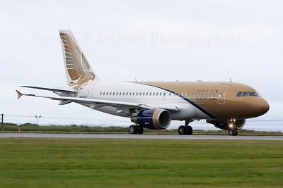 A9C-EV. Airbus A319-112. Gulf Air. Prestwick. 080808.