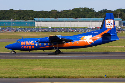 TC-MBH. Fokker F-27-500 Friendship. MNG Cargo. Prestwick. 210708.