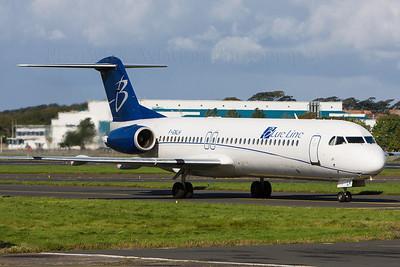 F-GNLH. Fokker 100. Blueline. Prestwick. 290908.
