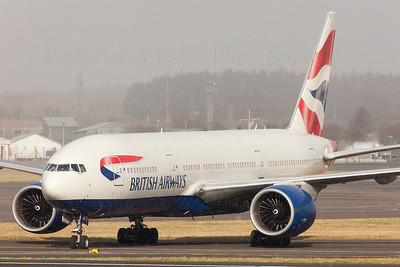 G-RAES. Boeing 777-236 ER. British Airways. Prestwick. 020209.  Having diverted to Prestwick due to snow at Heathrow, this Speedbird 777, finds the snow has followed him to PIK.