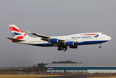 G-CIVH. Boeing 747-436. British Airways. Prestwick. 020209.  Heathrow weather diversion.