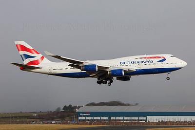 G-CIVH. Boeing 747-436. British Airways. Prestwick. 020209.  Heathrow weather diversion.
