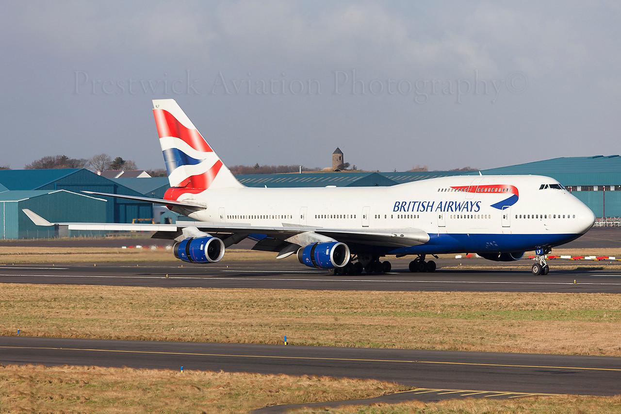 G-BNLP. Boeing 747-436. British Airways. Prestwick. 020209.