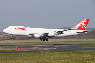 OO-CBC. Boeing 747-4KZF ER SCD. Cargo B Airlines. Prestwick. 200409.  Arriving to upload cargo for Rio De Janiero.