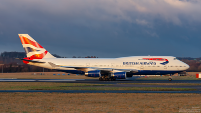 G-BNLR. Boeing 747-436. British Airways. Prestwick. 020209.