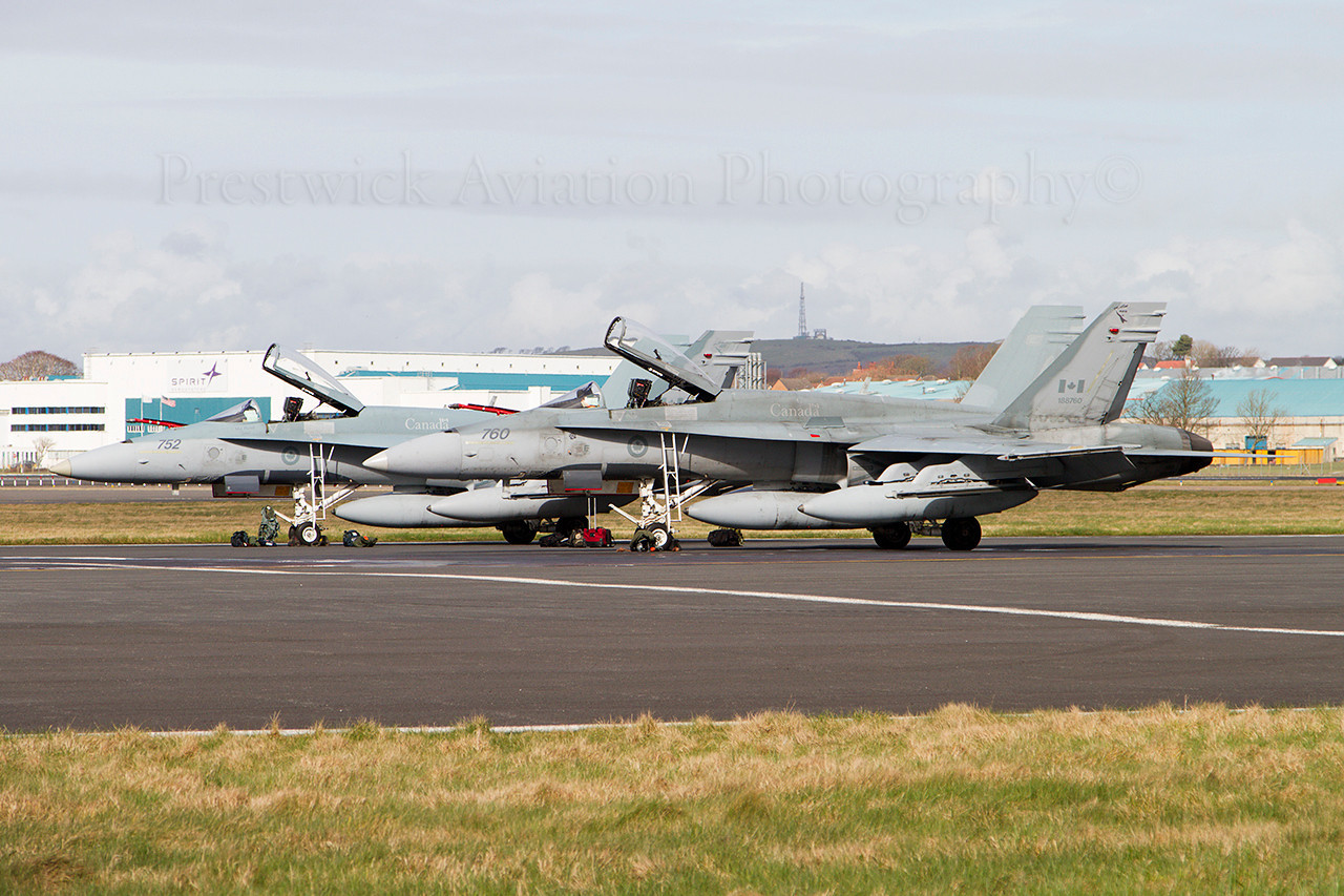 188760. McDonnell Douglas CF-188A Hornet.Canadian Air Force. Prestwick. 190311.<br /> <br /> In the company of 188752.