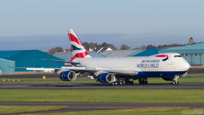 G-GSSD. Boeing 747-87UF SCD. British Airways World Cargo. Prestwick. 081111.  Delivered only a few days previously, Sierra Delta arrives at Prestwick on a training sortie from Stansted.