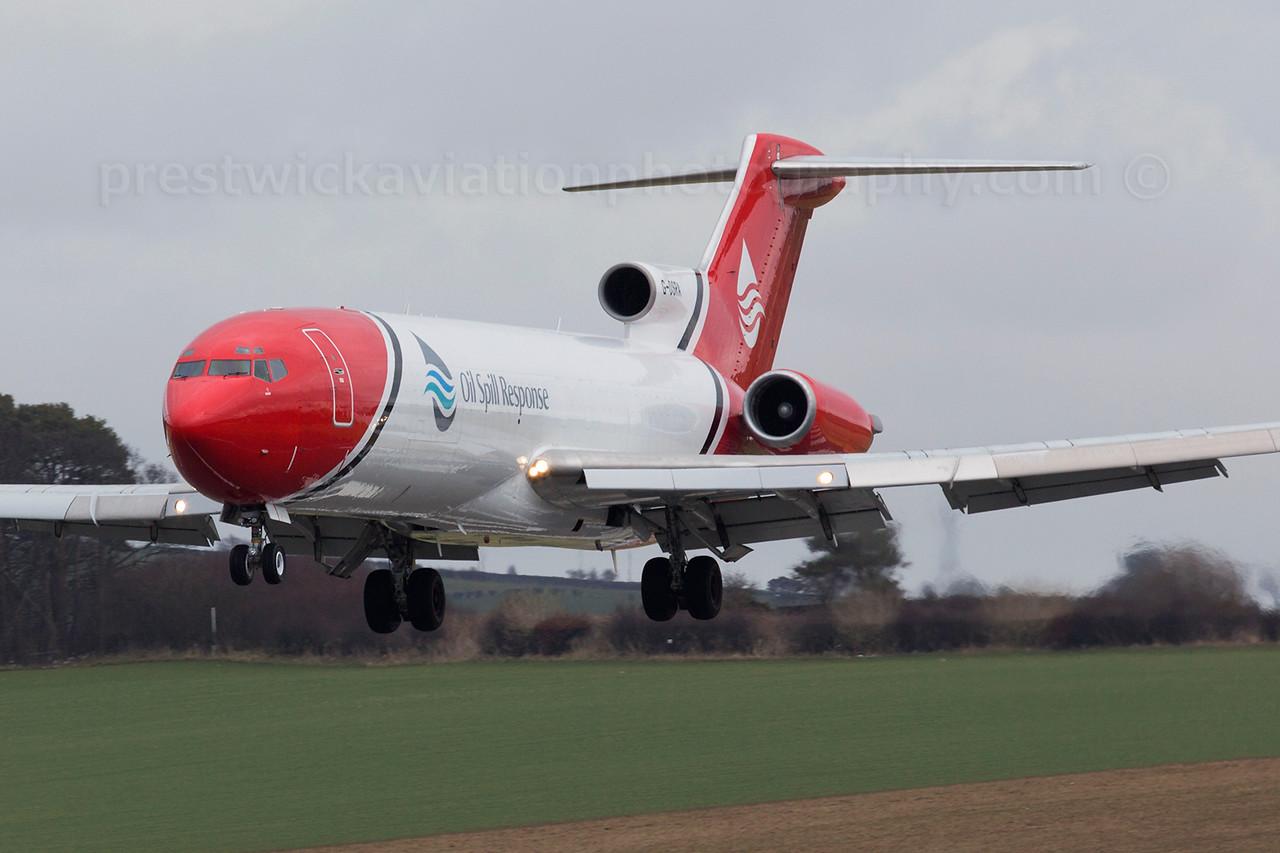 G-OSRA. Boeing 727-2S2F Adv(RE) Super 27. Oil Spill Response. Prestwick. 050315.
