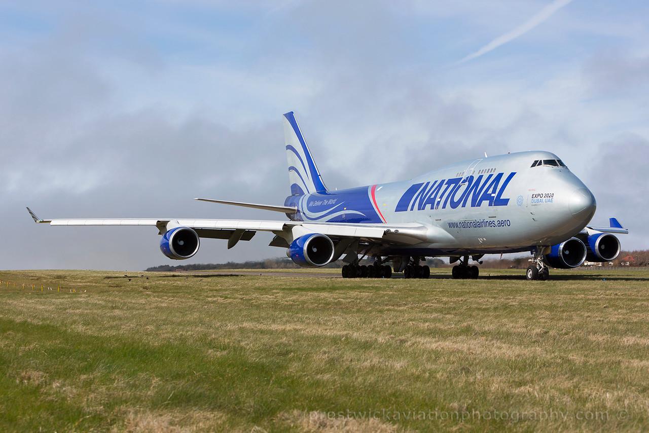 N919CA. Boeing 747-428M(BCF). National Cargo. Prestwick. 050415.