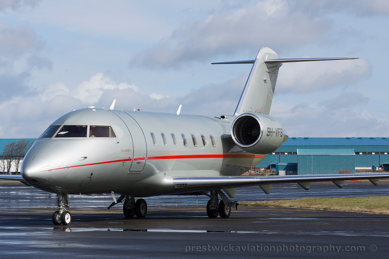 9H-VFB. Bombardier CL-600-2B16 Challenger 605. Private. Prestwick. 120415.
