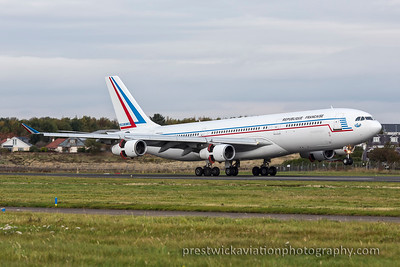 F-RAJB. Airbus A340-211. French Air Force. Prestwick. 261015.