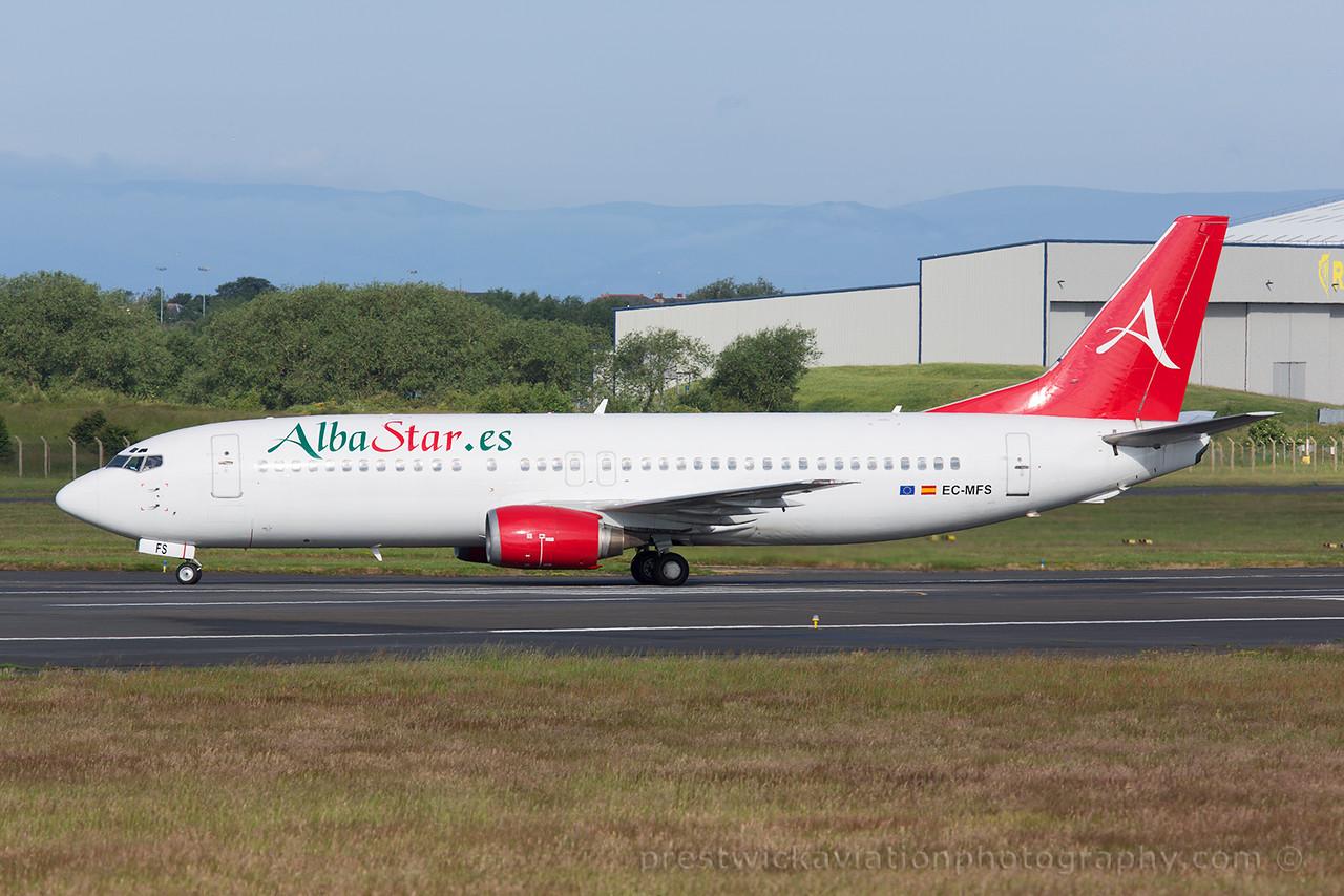 EC-MFS. Boeing 737-4YO. Alba Star Airlines. Prestwick. 060715.