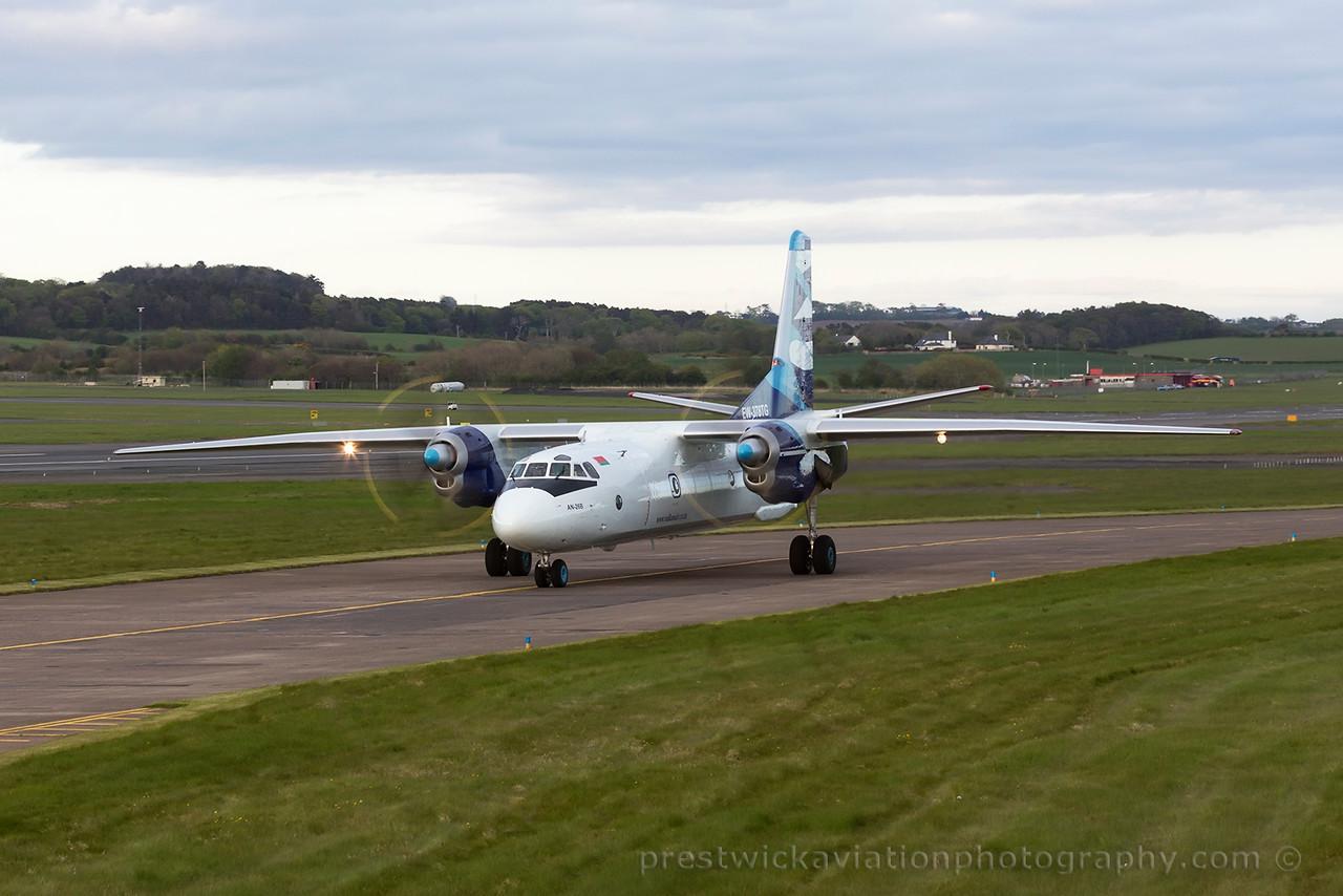 EW-378TG.  Antonov An-26B. Vulcan Air. Prestwick. 140515.
