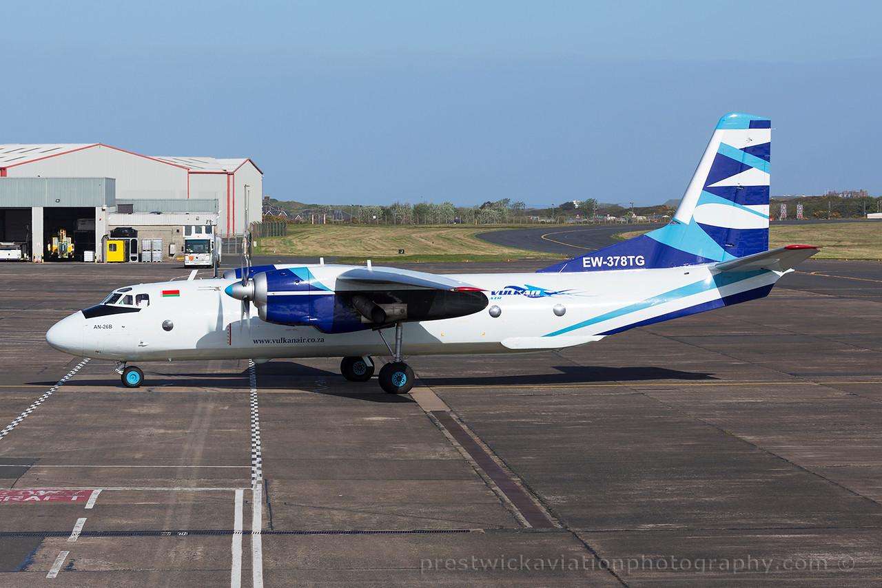 EW-378TG.  Antonov An-26B. Vulcan Air. Prestwick. 230515.