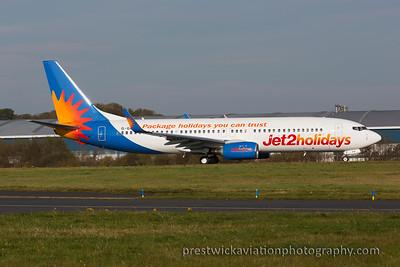 G-GDFU  Boeing 737-8K5. Jet2. Prestwick. 271015.