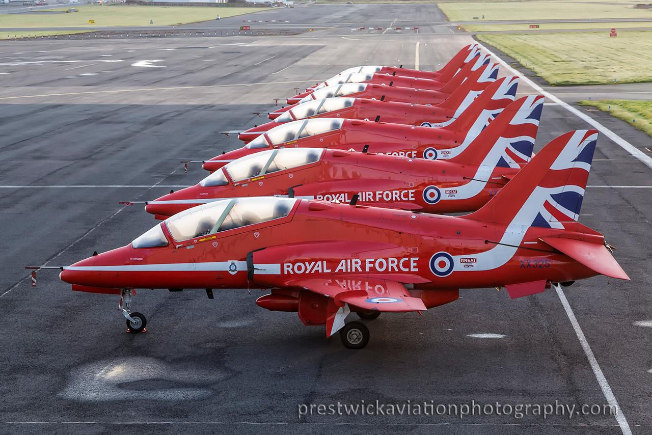 XX325. British Aerospace Hawk T1. RAF. Prestwick. 050915.