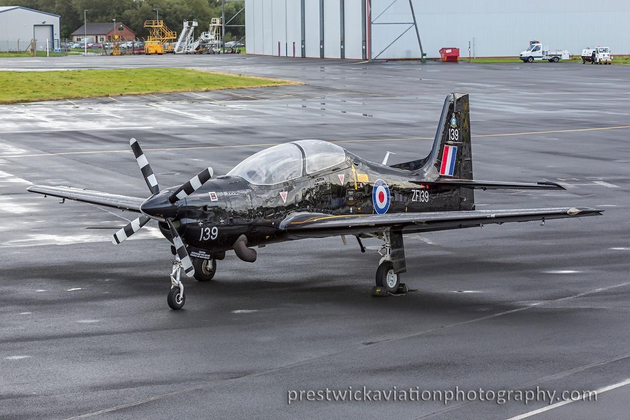ZF139. Short S-312 Tucano T1. RAF. Prestwick. 091015.