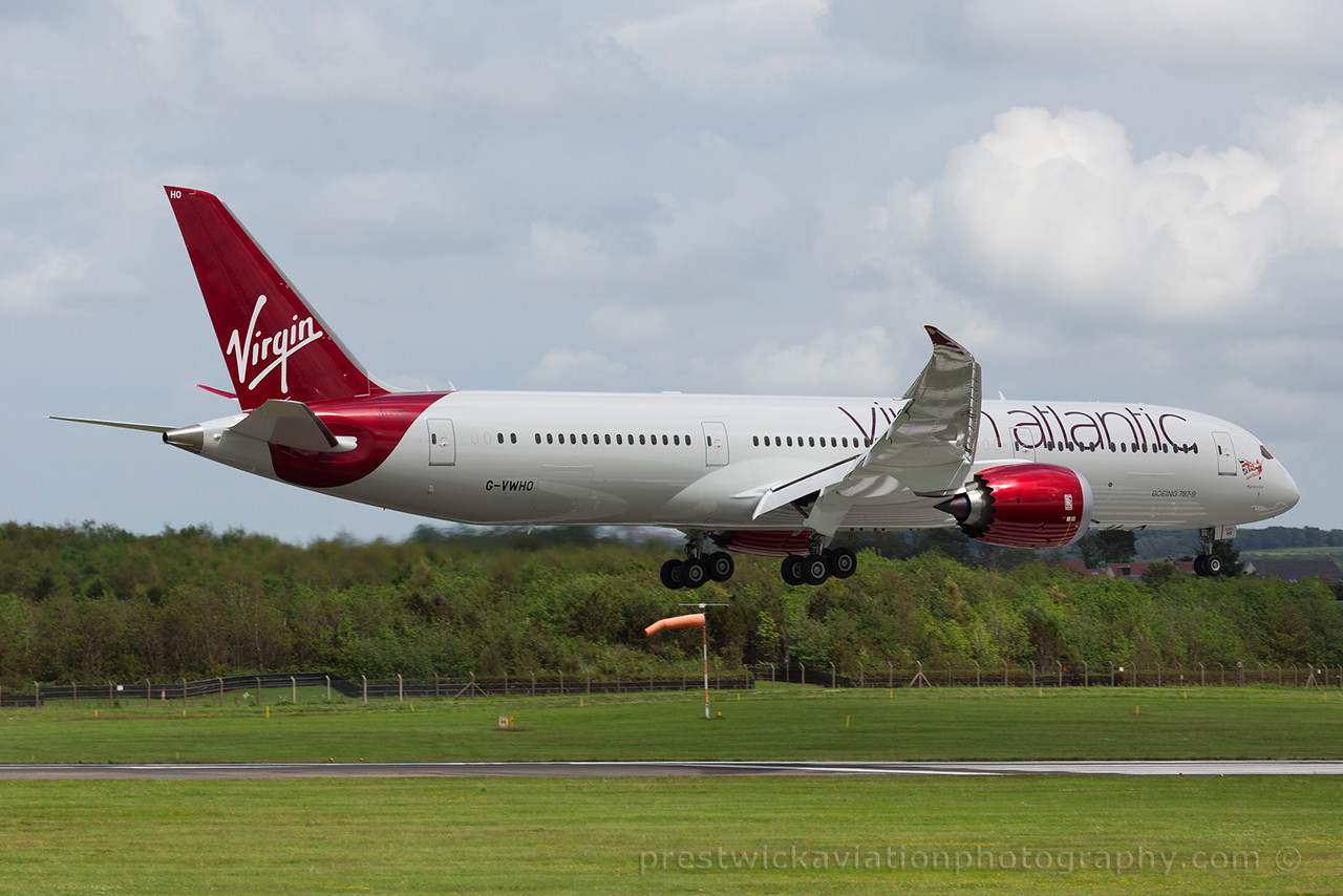 G-VWHO. Boeing 787-9 Dreamliner. Virgin Atlantic. Prestwick. 050715.
