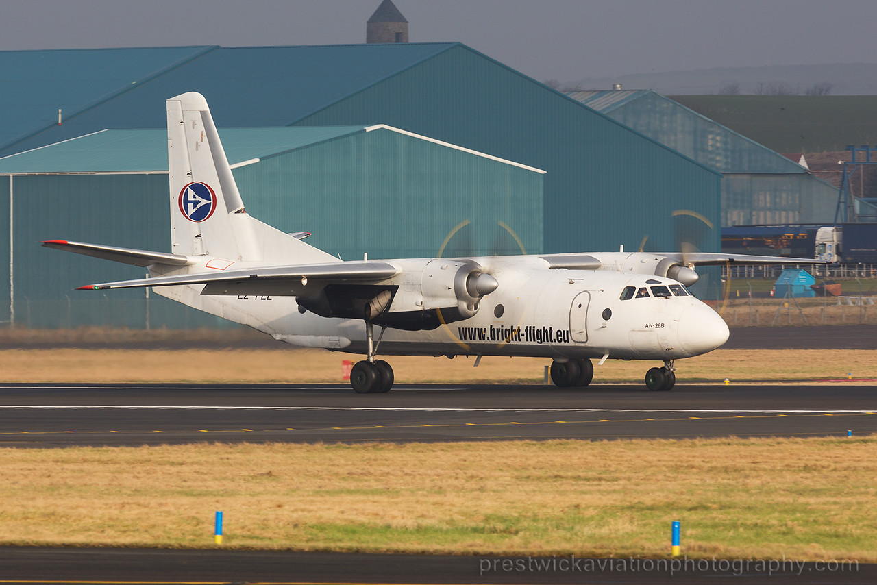LZ-FLL. Antonov AN-26B. Bright Flight. Prestwick. 140215.