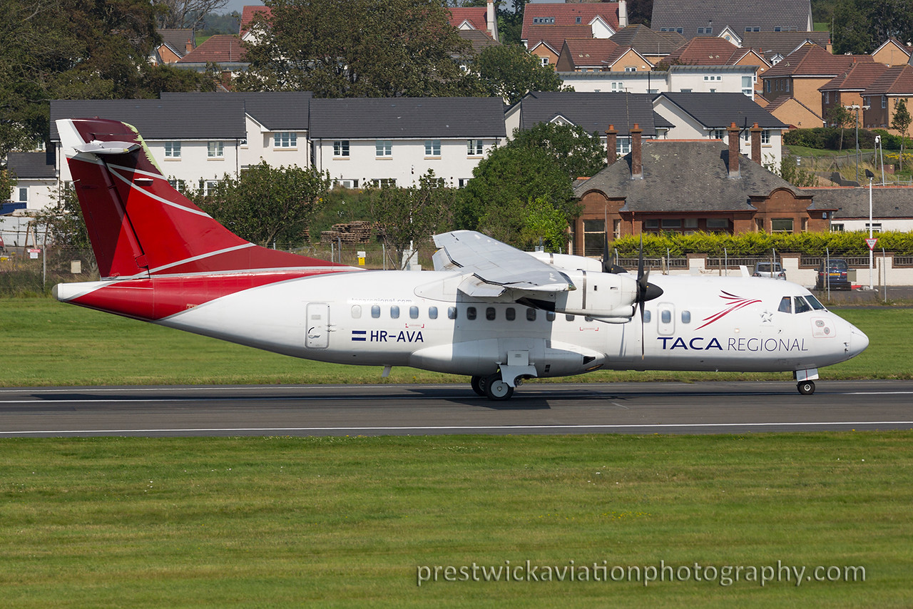 HR-AVA.  ATR-42-320. TACA Regional. Prestwick. 230815.