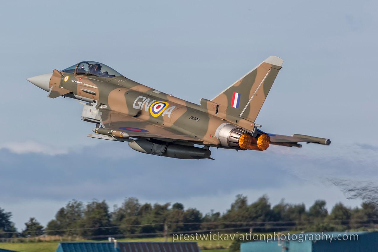 ZK349. Eurofighter EF-2000 Typhoon FGR4. RAF. Prestwick. 060915.