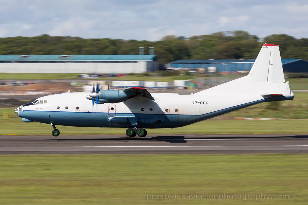 UR-CCP. Antonov An-12AP. Cavok Airlines. Prestwick. 030615.