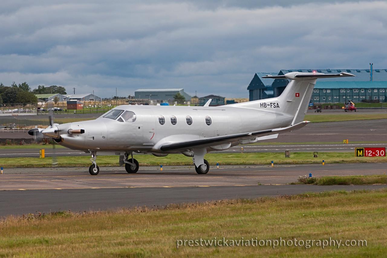 HB-FSA. Pilatus PC-12. Untitled. Prestwick. 120815.