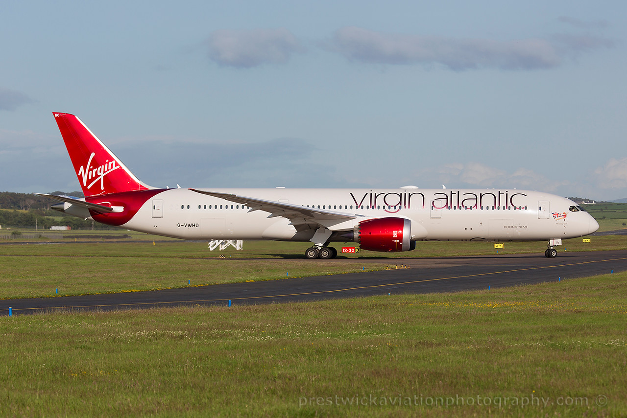 G-VWHO. Boeing 787-9 Dreamliner. Virgin Atlantic. Prestwick. 080715.