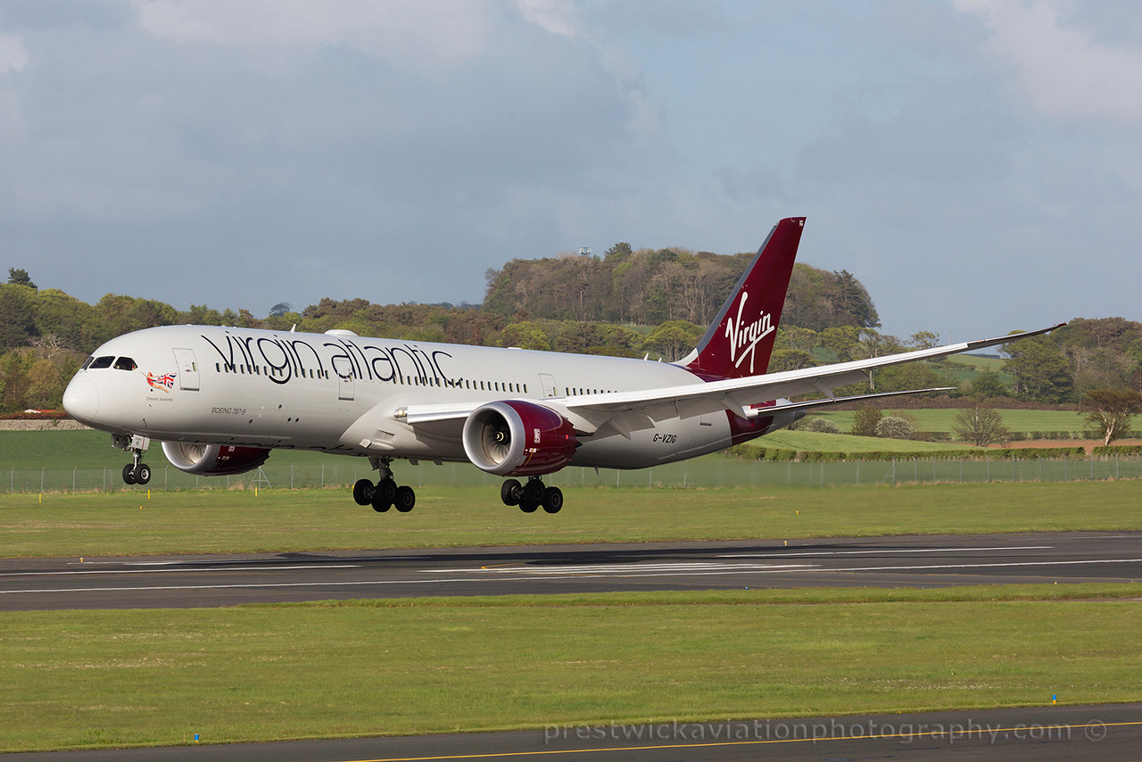 G-VZIG. Boeing 787-9 Dreamliner. Virgin Atlantic.  Prestwick. 160515.