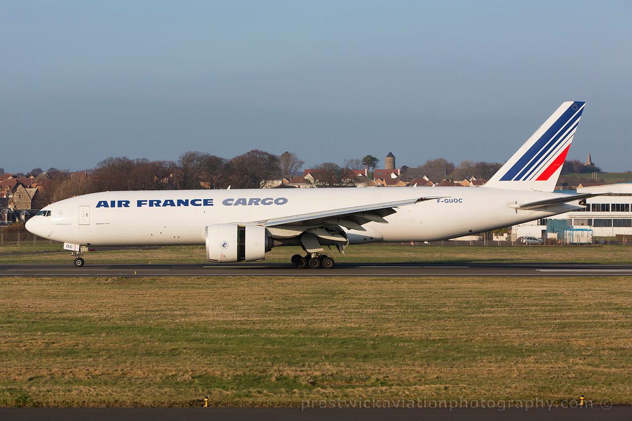 F-GUOC. Boeing 777-F28. Air France Cargo. Prestwick. 180315.