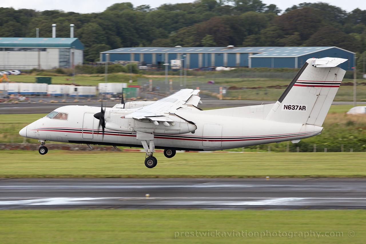 N637AR. De Havilland Canada DHC-8-102 Dash 8. EP Aviation. Prestwick. 010815.
